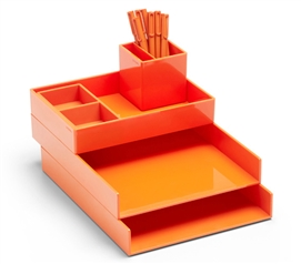 Ultra Stacked Dorm Desk Bundle - Orange Dorm Essentials Dorm Organizers Must Have Dorm Items