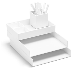 Ultra Stacked Dorm Desk Bundle - White Dorm Organization Dorm Essentials