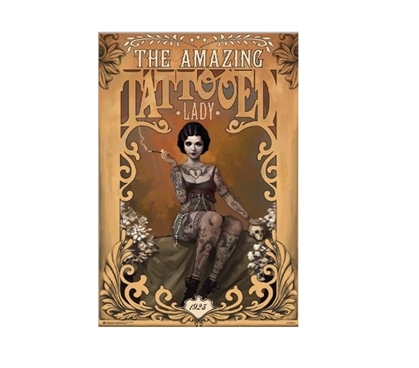 The Amazing Tattooed Lady Poster - Circus Performer - Stylish Decor