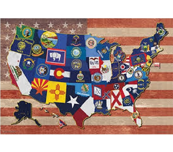 State Flag Map Of The USA Products For Dorms Best College Wall - Us college map poster