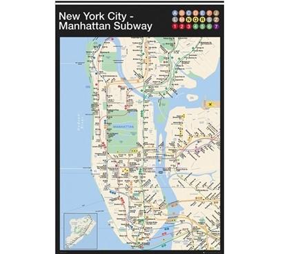 New York Manhattan Subway Map Poster