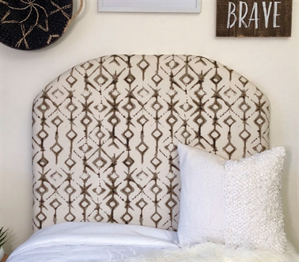 Ecru Neutral Dorm Room Decor Stylish Tribal Design College Headboard for Extra Long Twin Bed