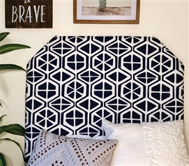 Unique Pattern Aiden Stylish College Decor One of a Kind Navy Dorm Room Headboard