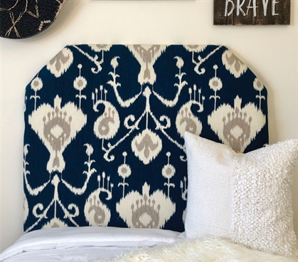 Navy College Twin XL Bedding Decor Beautiful Magnolia Pattern Dorm Room Headboard