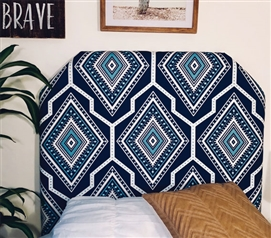 One-of-a-Kind Dorm Room Headboard for Twin XL Bed Handmade College Decor Gita Navy Pattern