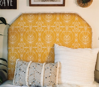 Decorative College Bedding Neutral Color Dorm Room Headboard Wander Native Intricate Pattern