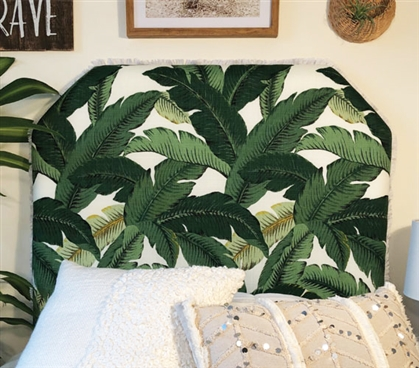 Green and White Twin XL Bedding Headboard Stylish Island Leaf One-of-a-Kind College Dorm Room Decor