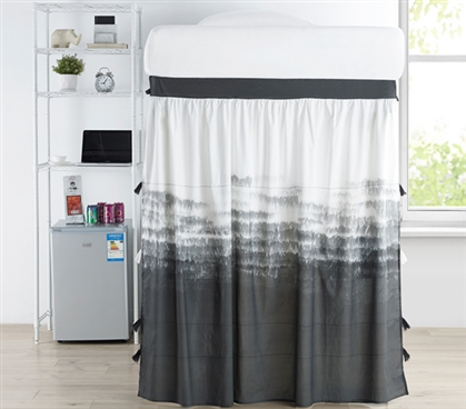 Ombre Nights Bed Skirt Panel with Ties - Faded Black