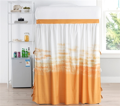Ombre Sunset Bed Skirt Panel with Ties - Ochre