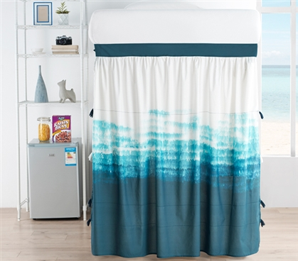 Ombre Twilight Bed Skirt Panel with Ties - Ocean Depths Teal