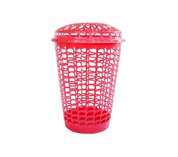 Tall Round Laundry Hamper Red