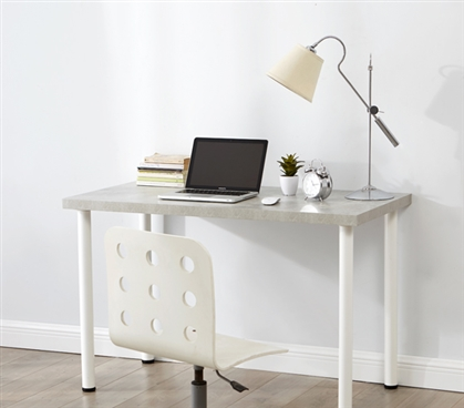Gray Essential College Furniture Yak About It Marble Gray Quick & Simple Versatile Dorm Room Desk