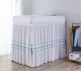 Stylish Bed Skirt Panel with Ties Twin XL Bedding Essentials Gray/Teal Colorful Threads Design