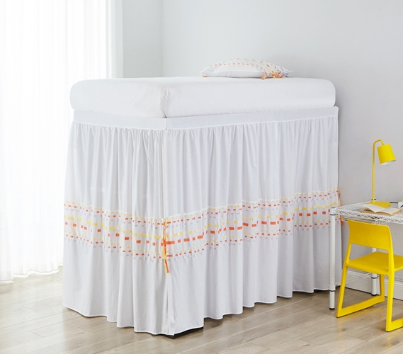 Beautiful Threads College Twin Xl Bed Skirt Panel With Ties Gray And