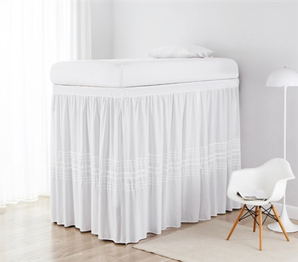 White Bed Skirt Panels with Ties for Twin XL Sized Bed One of a Kind Threaded Design Customizable Dorm Room Bedding