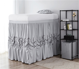 Alexandra Bed Skirt Panel with Ties - Glacier Gray