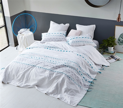 Threads Textured Twin XL Comforter - Gray/Teal