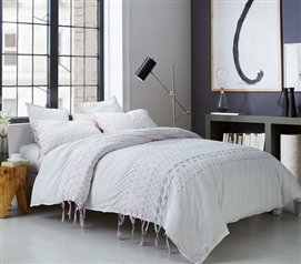 Threads Textured Duvet Cover - Twin XL - Gray/Pink