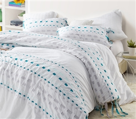 Essential Twin Extra Long Bedding Stylish Threads Textured Gray and Teal College Duvet Cover