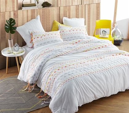 Threads Textured Duvet Cover - Twin XL - Gray/Yellow