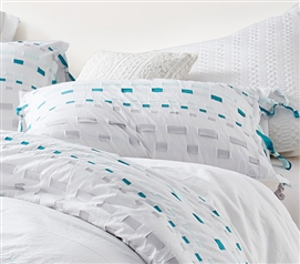 Threads Textured Sham - Gray/Teal (2-Pack)