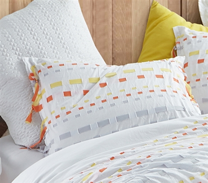 Threads Textured Sham - Gray/Yellow (2-Pack)