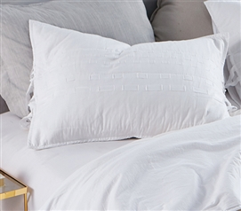 White College Bedding Unique DIY Threads Textured Sham for Twin XL Sized Bed (2-Pack)