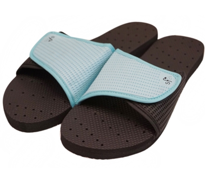 Showaflops - Women's Antimicrobial Shower Sandal - Black/Turquoise Dorm Essentials Dorm Necessities Shower Flip Flop