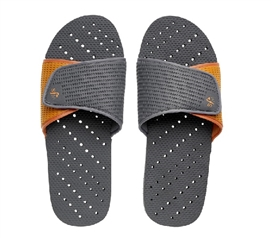 Showaflops - Men's Antimicrobial Shower Sandal - Grey/Orange