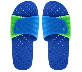 Showaflops - Men's Antimicrobial Shower Sandal - Blue/Lime Dorm Essentials Dorm Necessities College Supplies