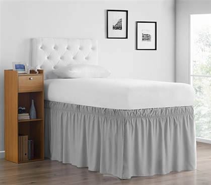 Ruffled Dorm Sized Bed Skirt - Glacier Gray