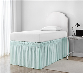 Ruffled Dorm Sized Bed Skirt - Hint of Mint