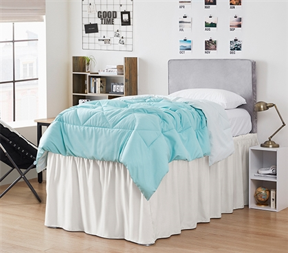 Ruffled Dorm Sized Bed Skirt - Jet Stream