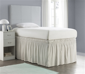 Ruffled Dorm Sized Bed Skirt - Silver Birch