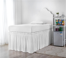 Ruffled Dorm Sized Bed Skirt - White