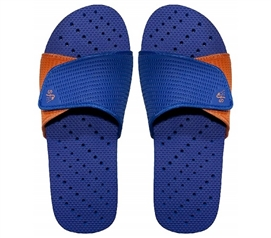 Showaflops - Men's Antimicrobial Shower Sandal - Blue/Orange - Shower Shoes For Guys