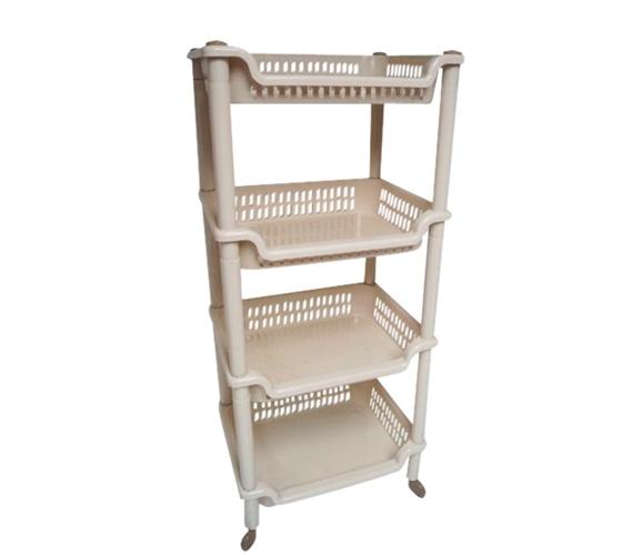 College Dorm 4 Shelf White Storage Unit