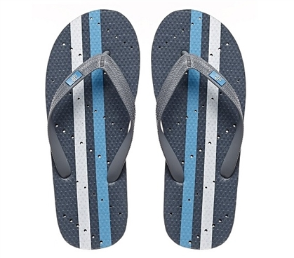 Showaflops - Men's Antimicrobial Shower Sandal - Turquoise Athletic Stripe