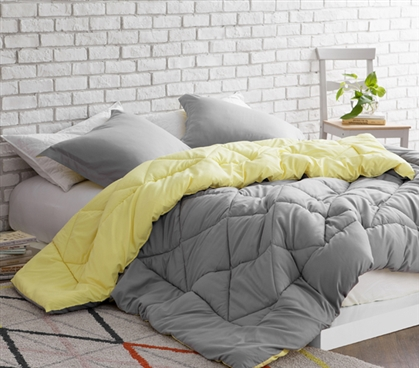 Limelight Yellow/Alloy Reversible College Comforter - Twin XL