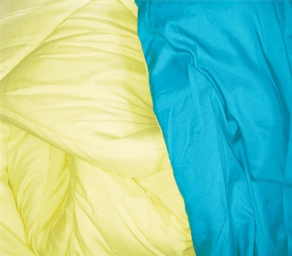 Peacock Blue/Limelight Yellow Reversible College Comforter - Twin XL