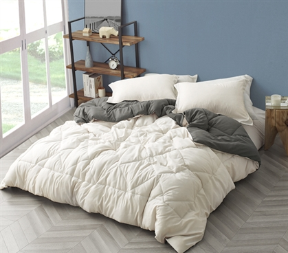 Jet Stream/Pewter Reversible Twin XL Comforter
