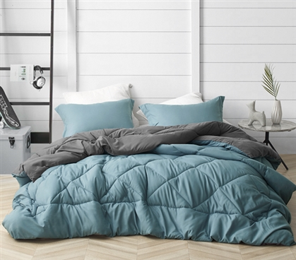 Smoke Blue/Granite Gray Reversible Twin XL Comforter