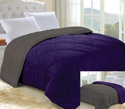 Downtown Purple Granite Gray Reversible College Comforter Twin Xl
