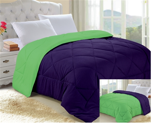 Downtown Purple/Lime Green Reversible College Comforter   Twin XL