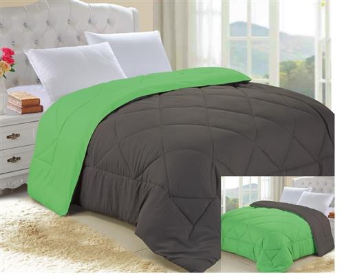 Granite Gray Lime Green Reversible College Comforter Twin Xl .
