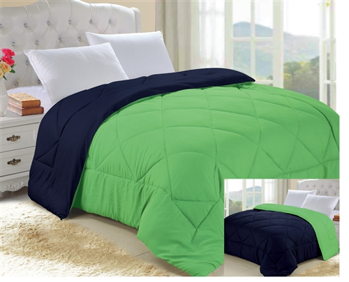 Lime Green/Nightfall Navy Reversible College Comforter   Twin XL