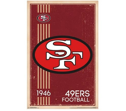 San Francisco 49ers - Retro Logo (1946) Poster - Cool Dorm Decor