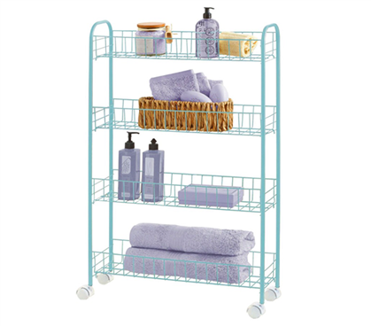 Slim 4-Tier Rolling Storage Cart - Mint