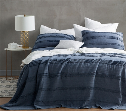 Ruffled Stone Washed Quilt - Nightfall Navy - Twin XL