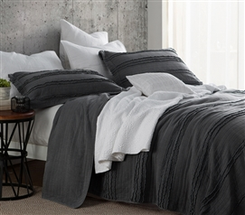 Ruffled Stone Washed Quilt - Pewter - Twin XL